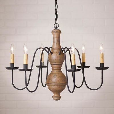 Country Primitive Farmhouse LARGE CHESTERFIELD WOOD CHANDELIER in PEARWOOD
