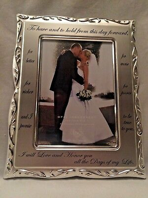 New In Box Lenox Opal Innocence Wedding Vows Silverplate Picture Frame
