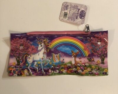 "Lisa Frank Pencil Case Plastic 4""x 9"" Rainbow Unicorn Owl Deer"
