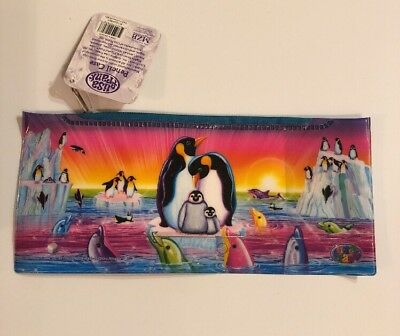 "Lisa Frank Pencil Case Plastic 4""x 9"" Rainbow Penguins Dolphins"