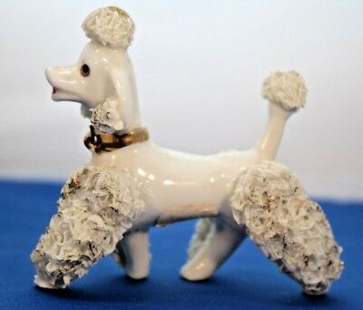 "Vintage Porcelain  2 7/8"" Spaghetti Poodle Figurine White W/ Gold Accents"