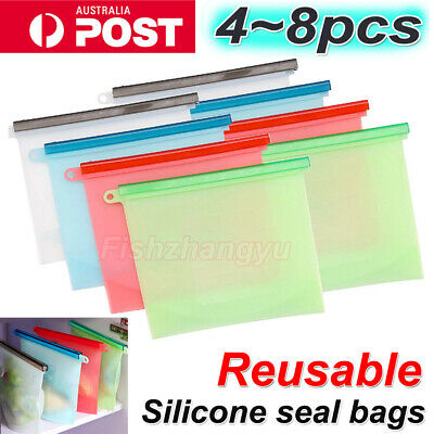 8X Reusable Silicone Food Preservation Bags Airtight Seal Food Storage Container