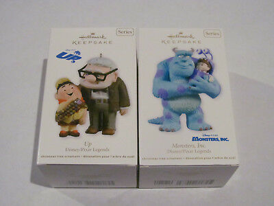 Hallmark Ornaments 2011 2012 Pixar Legends Up Monsters Inc 2 Pc Set Nib Disney