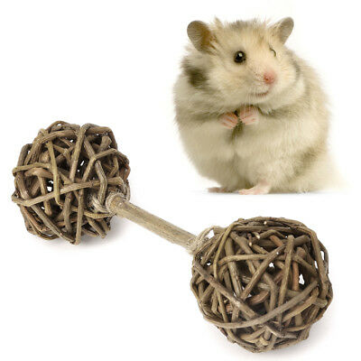 Willow Branch Barbell Pet Chew Toy for Small Animals Hamsters Rabbits Parrot New