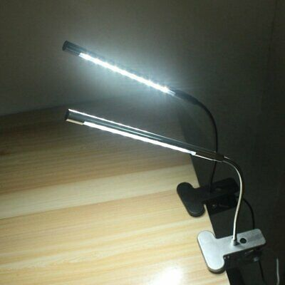 Table Lamp USB Dimmable LED Touch Desk Eye Care Reading Light Flex Clip Clamp FM