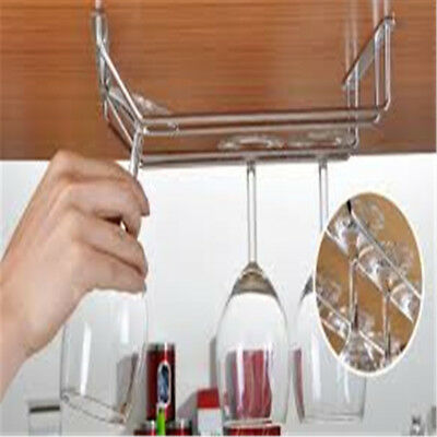 AU Wine Rack Glass Holder Hanging Bar Hanger Iron Shelf Free Screws AU