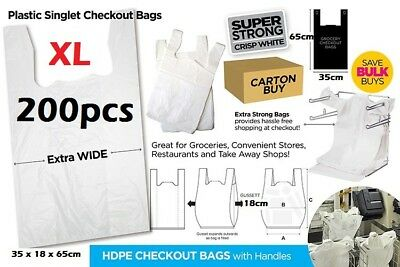 200pcs Plastic Singlet Shopping Carry Checkout Bag X Large 35cmx18cmx65cm White