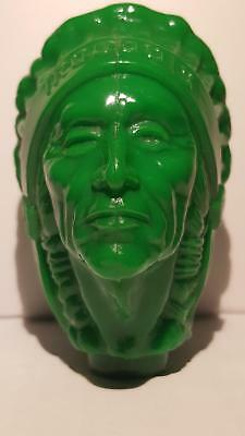 Very Rare / Vintage Iroquois (Green) Indian Head Beer Tap Knob Handle Buffalo Ny