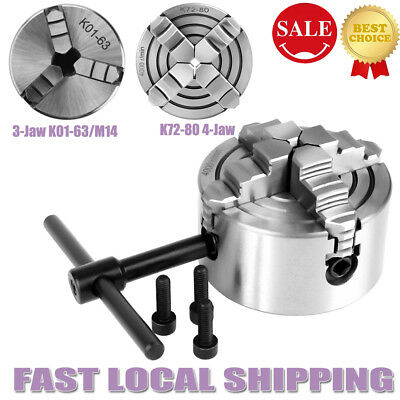 3-Jaw+4-Jaw Independent & Reversible Jaw Metal Lathe Chuck Accessories Durable