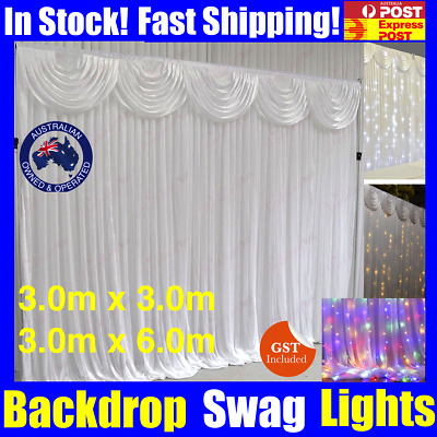 Wedding Party Stage Backdrop Swag Drape Sheer Satin Curtain Photo Background NEW