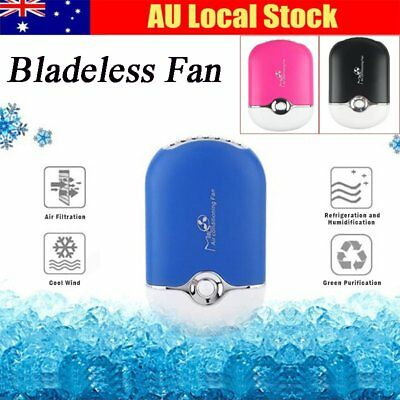 Mini Portable Bladeless USB Handheld Air Conditioner Cooler Cooling Home Fan