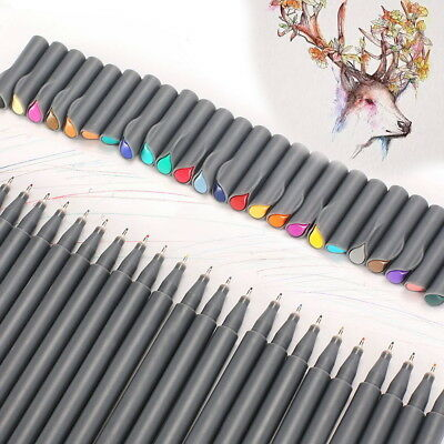 24 Coloring Fine Paint Marker Art Pen Fineliner Writing Drawing Pen Point