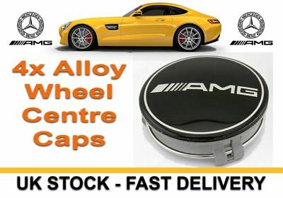 Ml Class 4 X Black Amg Mercedes Alloy Wheel Centre Hub Caps 75Mm Fits A B C E S
