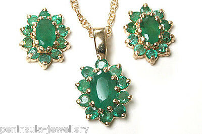 9ct Gold Emerald Cluster Pendant and Earring Set Gift Boxed Made in UK