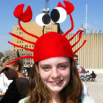 KF_Red Crab Hat Party Costume Adjustable Fits Child  Adult Non-woven Cute Cap