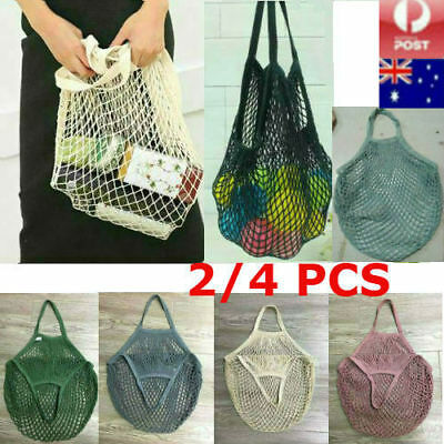 2/4 PCS Mesh Net Turtle Shopping Bags Reusable String Grocery Bag Fruit Tote