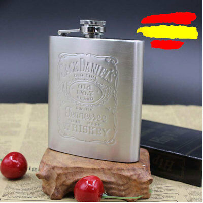 Petaca portátil whisky en relieve de acero inoxidable 7oz