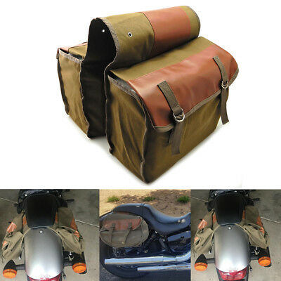 Cycling Canvas Saddle Bags Equine Back Pack Luggage Pannier Bag for Harley Honda