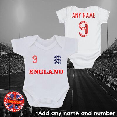 England Inspired Personalised Football baby grow, kids t-shirt, World Cup, Gift