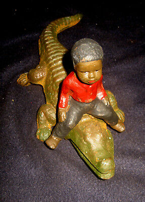 "Black Americana Boy on Alligator Rustic Cast Iron 9 1/2"" Long x 4"" Tall"