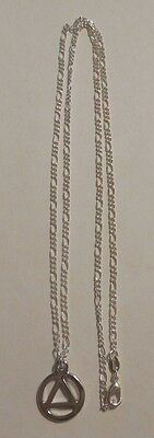 22 inch silver plated necklace aa alcoholics anonymous silver symbol pendant