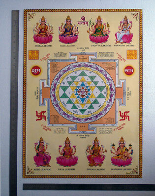 21X28 INCH POSTER - Shri Shree Yantra, Ashta Lakshmi Eight Avatars