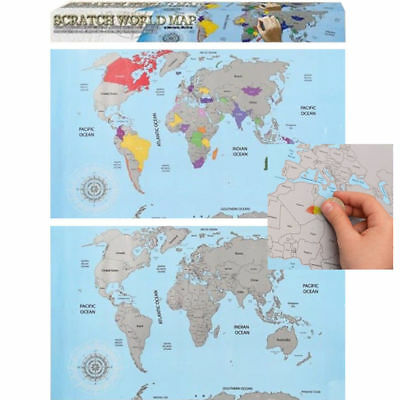Colourful Scratch Off World Traveller Map Poster Travel Guide Adventure Gift Uk