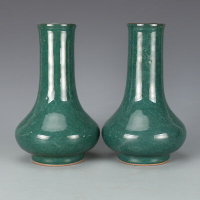"""8"""" China antique Porcelain song longquan kiln green glaze Straight mouth vase"""