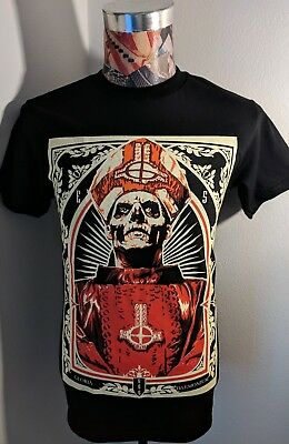 New Ghost Swedish Rock Band Red Papa Emeritus Skeleton Bishop Black T Shirt