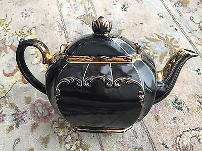 Very Rare Antique Gold Gilded Black Sadler Cube English Bone China Teapot