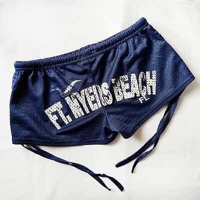 Fort Myers Beach Florida Booty Shorts Swim Dark Navy Blue Medium M Women's