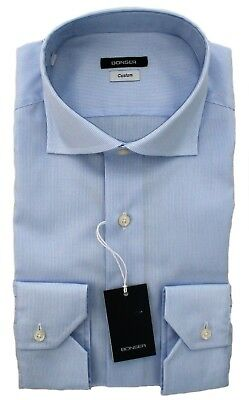 Camicia Uomo Bonser Custom Fit Classica Bianca Celeste A Righe Collo Francese