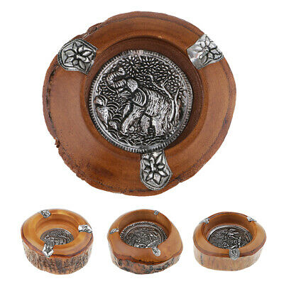Elephant Pattern Mango Wooden Ashtray Vintage Cigarette Smoke Art Deco Gift