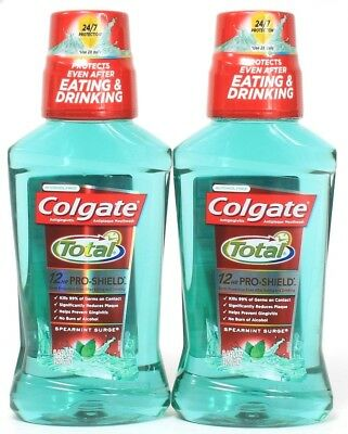 2 Colgate Total Pro Shield Protects After Eating Drinking Spearmint Surge 8.4 oz