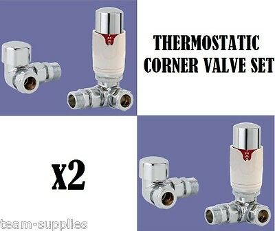 CORNER THERMOSTATIC TOWEL RAIL RADIATOR VALVE CHROME WHITE VALVES SET TSE x 2