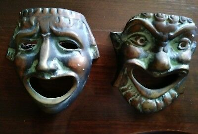 Vintage Brass/Bronze Greek Theatrical Comedy  Hanging Masks
