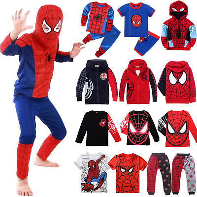 Kids Boys Superhero Clothes Hoodie Sweatshirt Jumper Tops Pajamas Party Outfits