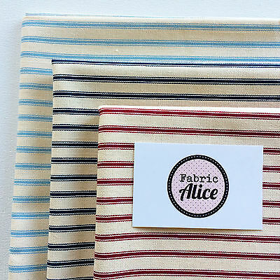 Ticking Stripe Baby Blue Navy Red Cotton Canvas Fabric Material Linen Look