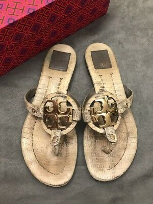 9f5deca1dfc1fe TORY BURCH MILLER 2 Snake Embossed Roccia Leather Thong Sandal Sz 9 ...