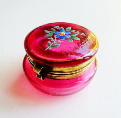 "Vintage Victorian C.1870 Cranberry Glass ""Forget-Me-Not"" Enameled Hinged Box"