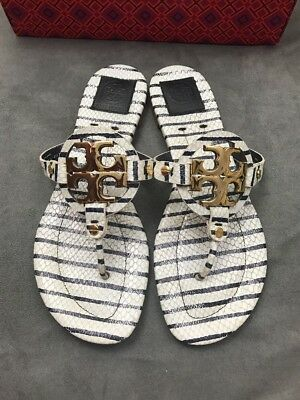 e5bfd3a4bfbf2c TORY BURCH Miller 2 Snake Embossed Navy Stripe Leather Thong Sandal Sz 9.5   i8