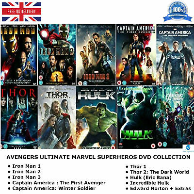 Avengers -Ultimate Marvel Comic Heroes All 10 Movies Complete Collection New DVD