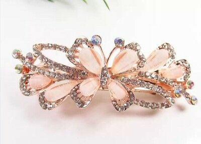 Formal/Bridal Gold Tone Alloy Champagne White Crystal Butterfly Hair Barrette