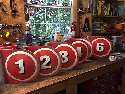 6 Texaco Double Sided Numbered Gas Pump Flanged Signs