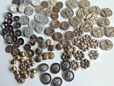 Lot of 100+ Antique Metal Buttons Victorian, Perfume, Picture, Lion, Soldier