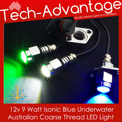 12V Standard Coarse Thread Isonic Blue Led Screw In Bung Underwater Boat Light