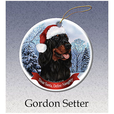 Gordon Setter Howliday Porcelain China Dog Christmas Ornament