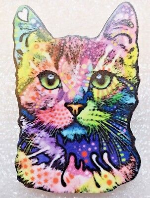 Cat Kitten Face Large Multicolor Acrylic Pin Brooch Jewelry