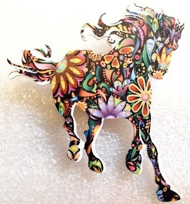 Horse Mustang Running Large Multicolor Floral Acrylic Pin Brooch Jewelry