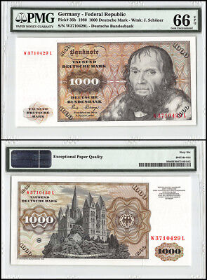 Germany 1,000 -1000 Deutsche Mark, 1980, P-36b, Cathedral, Serial # 429L, PMG 66